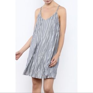 Storia Pleated Silver Dress
